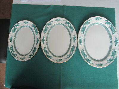 """Set Of 3 Booths Green Dragon Large Platters 14"""" + 12.25"""" + 11"""" Wide"""