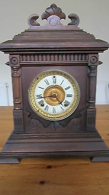 A Victorian  Striking Wooden Cased  Ansonia American Mantle Clock