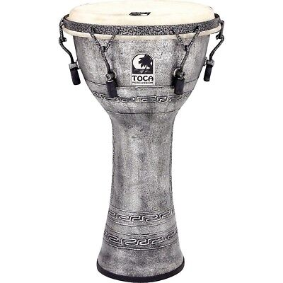 Toca Freestyle Antique-Finish Djembe 10 in. Silver LN