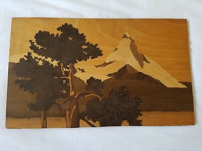 "Wooden Antique Spindler Panel ""Matterhorn"" 1504 Marquetry - Charles Spindler"