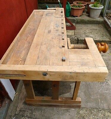 Carpenters Wooden Work Bench With Two Vices (Norwich).