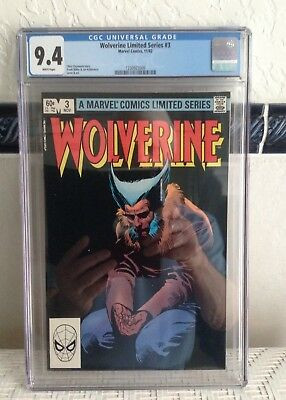 Wolverine Limted Series #3 CGC 9.4 White Pages Marvel 1982