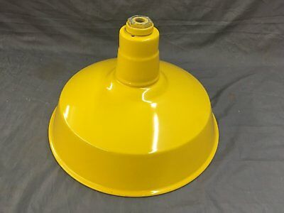 Vtg Industrial Yellow Porcelain Enamel Steampunk Gas Station Barn Light 557-17E
