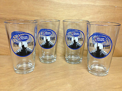 Bud Light New York City Statue Of Liberty Pint Glass Set of 4 Glasses Rare FShip