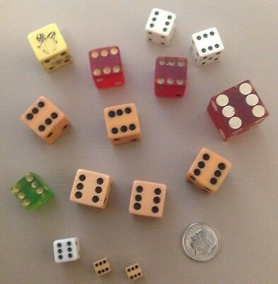 15 Vintage Dice, Various Sizes, Colors