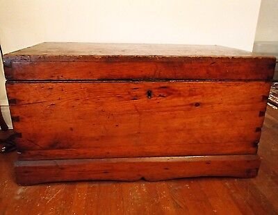 Antique Dove'Tailed Sea Chest With Beckets
