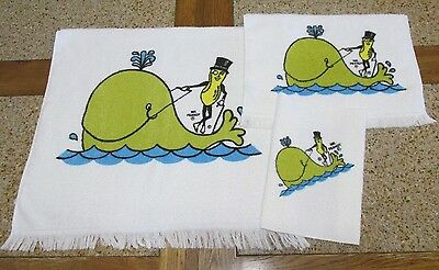 VINTAGE PLANTERS MR. PEANUT 3 PIECE TOWEL SET- MADE IN USA~Collectible