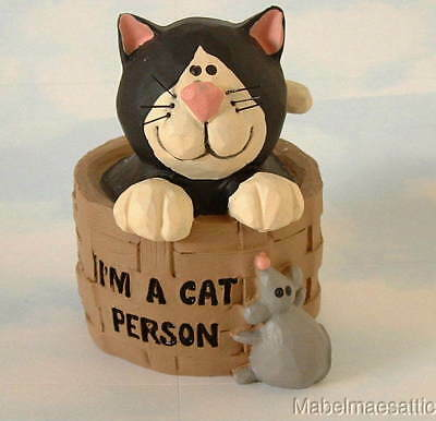 New Blossom Bucket Folk Art Tux Cat in Basket w/ Mouse I'm a Cat Person Figure