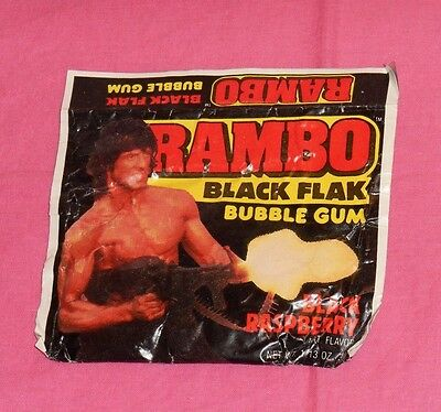vintage RAMBO BLACK FLAK BUBBLE GUM sealed package
