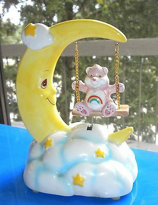 "7"" American Greetings Cheer Care Bear On Swing From The Moon Musical  Rare Item"