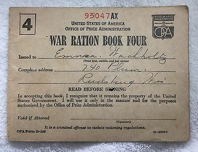Vintage 1943 WAR RATION BOOK FOUR  with 7 partially used pages of stamps