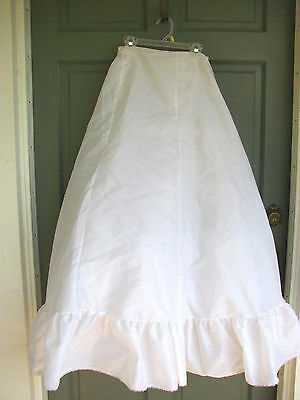 "White 3 Layer Petticoat Slip Bridal Size 11 Junior  26"" Waist 41"" Length"