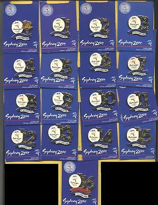 * SYDNEY 2000 OLYMPIC GAMES * Days Of The Games * 17 Gold Pin Set *