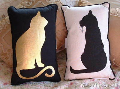 New Feline Black Cat & Gold Foil Cat Kitten Kitty Cats Kittens Accent PILLOW