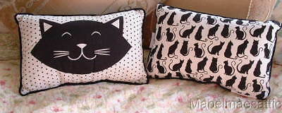 New Feline Happy Black Cat Face Kitten Kitty Cats Kittens Clowder Accent PILLOW