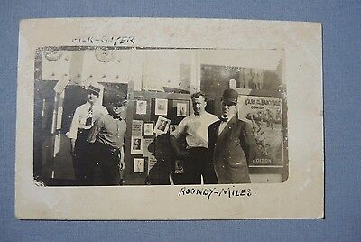1912 RPPC Postcard Shows Men With Comedy Movie Poster Yarn of The Nancy Belle