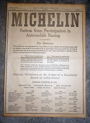 Rare 1912 New York Newspaper Full Page Ad - Michelin Retires From Auto Racing
