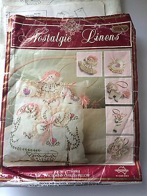 """""""Victorian Child's Pillow""""  Vintage Embroidery KIT By Semco  # 1775-0001    Rare"""