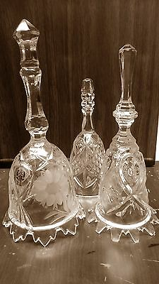 Lead Crystal Floral Bell Lot Vtg House of Global Art W Germany Cut Crystal Bells