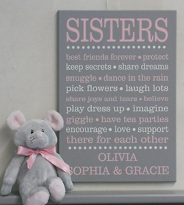 Sister Decor Wall Art Sign, Pink Girls Bedroom Sayings, PERSONALIZED with Names