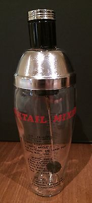 Vintage Golden Crown Glass & Stainless Steel Cocktail Mixer With Recipes