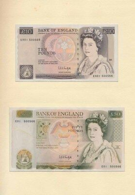 Great Britain: 1993 Presentation Set of £5, £10, £20 & £50, UNC Cat $780 Rare!