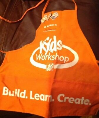 Home Depot Kids Workshop Lot -- 2 Aprons And 3 Pins