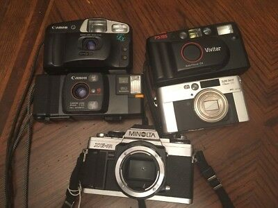 Camera Lot CANON Vivitar Minolta Film Sure Shot Snappy Click