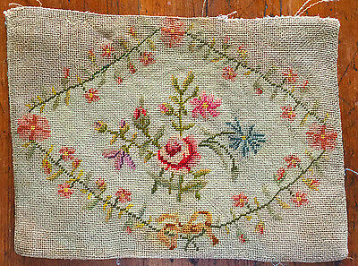 Antique wool petit point needlepoint tapestry