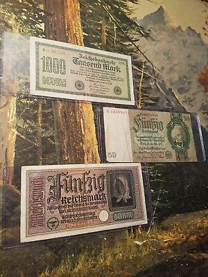 ORIGINAL 50-REICHSMARK!! 4pc LOT! NAZI BANKNOTE IN PROTECTIVE SLEEVE! 4PC W/GIFT