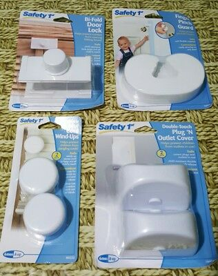 Lot 4 Safety 1st bi-fold door lock, finger pinch guard,  cord wind-ups, outlet