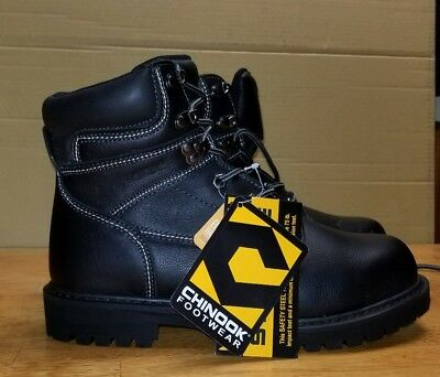 Men's CHINOOK MECHANIC BOOT Black Leather STEEL TOE Safety Work Boots New 8.5