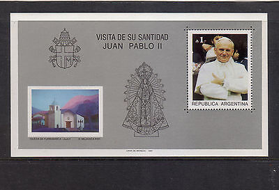Argentina 1987 Visit John Paul II Mint unhinged mini sheet.