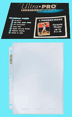 50 ULTRA PRO PLATINUM 1-POCKET 8x10 Pages Sheet Photo Comic Book Magazine Sports