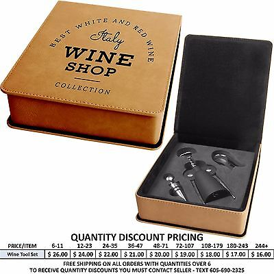 Personalized Leather Wine Tool Set Laser Engraved Business Promotional Custom