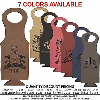 Personalized Leather Wine Bottle Carrier Valentines Day Gifts For Her or Him