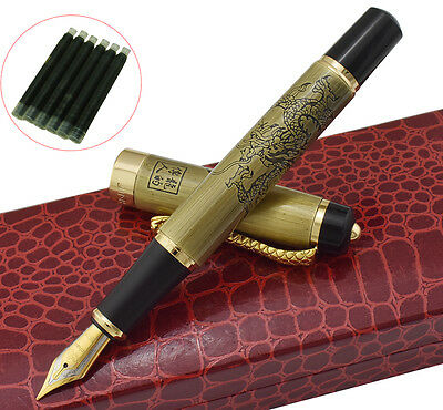 Jinhao Dragon Offspring Fountain Pen M Nib Bronzy Color 5 Ink Cartridge Gift Box