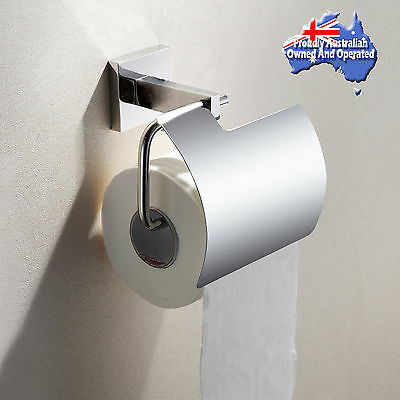 Toilet Paper Roll Holder with Cover SUS304 Bath Washroom Wall Mounted Chrome NEW