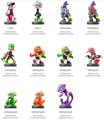Splatoon Inkling Amiibo Nintendo Variations In Box