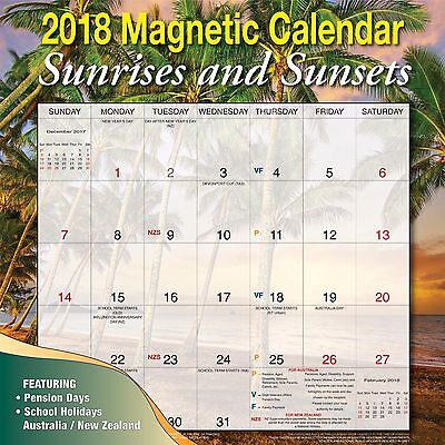 Sunrises and Sunsets 2018 Magnetic Wall Calendar NEW by Bartel, Post Included