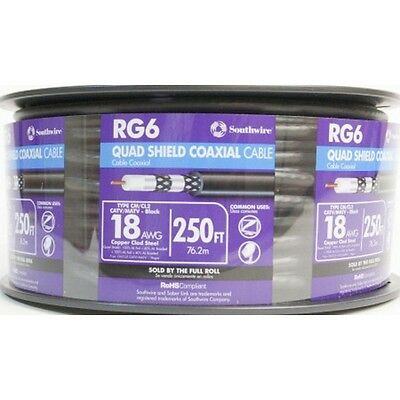 250-ft 18 Awg Rg6-Quad Sunlight-Resistant Shield Black Coax Cable Spool Outdoor