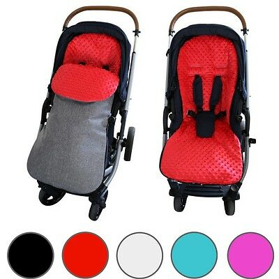 GOOSEBERRY MINKY FOOTMUFF Pram LINER 2in1 Universal Fit Grey Melange 5 Colours