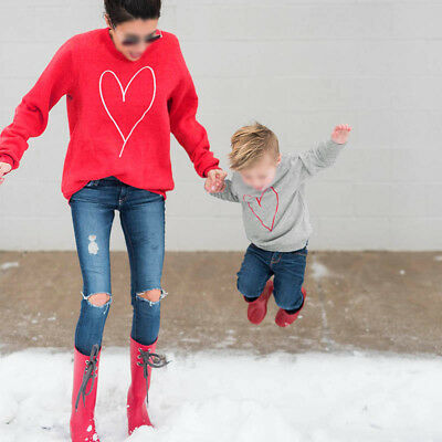 Family Look Mother and Son Casual Clothes Matching Warm Sweater Jumper Outfits