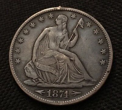 1874 Seated Silver Half Dollar With Arrows And Motto, High Grade Beauty