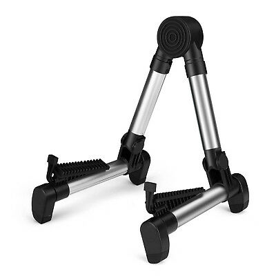 Guitar Floor Stand Folding Adjustable for Acoustic Portable Lightweight Silver