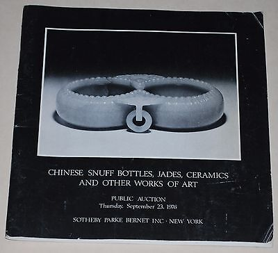 1976 Sotheby's  Catalog  Fine Chinese Jades and Snuff-Bottles