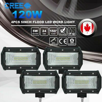 4x 5inch 120W CREE LED Work Light Bar Ultra Flood Beam 4WD ATV Off Road Driving