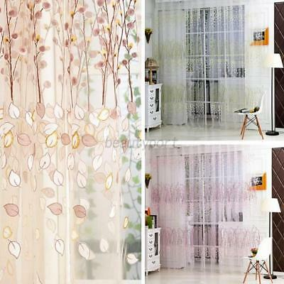 Floral Print Window Sheer Voile Wall Door Curtain Drape Panel Tulle Valances