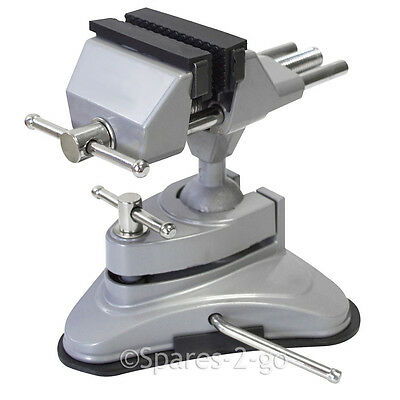 Table / Bench Top Vacuum Suction Base Vice Clamp Swivel Head & 70mm Rubber Jaw