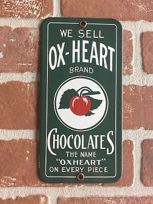 We Sell Ox-Heart Chocolates Porcelain Palm Press Door Push Sign. Buy It Now  !😎